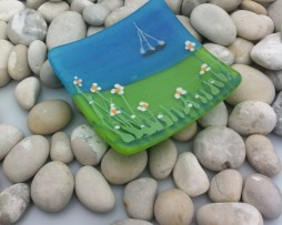 Bayside fused glass dish