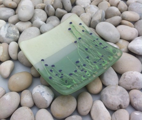 Thistle field fused glass dish